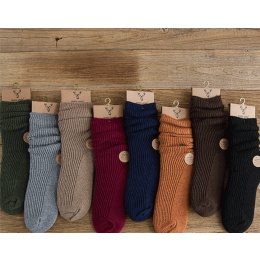 5 Pairs Women's Wool Warm Solid Color Winter Socks