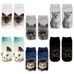 3 Pair 3D Cat Print Ankle Socks Crazy Cute Cartoon Low Cut Socks
