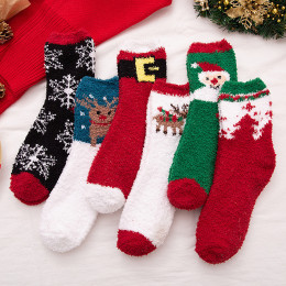 5Pcs/Pack Women Girls Fluffy Fuzzy Cute Christmas Warm Socks
