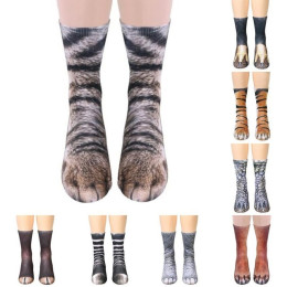 Unisex Adult Kids Animal Paw Crew Socks