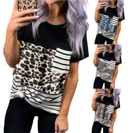 Round neck pullover leopard print stitching top