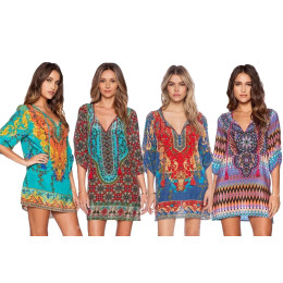 Summer Front Tie Boho Mini Dress