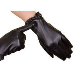 Women Touch Screen PU Leather Gloves Lace Winter Gloves