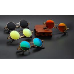 Metal Round Steampunk Sunglasses