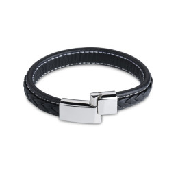 Genuine Leather Bracelet Men Stainless Steel Leather Braid Bracelet