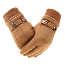 Men's Winter Gloves Suede Warm Split Finger Gloves