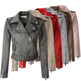 Women Streetstyle Suede Faux Leather Jackets