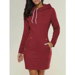 Women's Sweater Dress Ladies Hooded Sweatshirt Long Sleeve