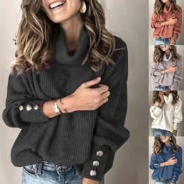 Women Long Sleeve Casual High Neck Button Sweater