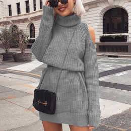 Women's knitted dress with high collar