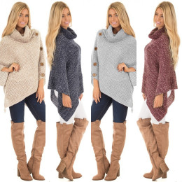 Women's Knit Turtle Neck Poncho with Button Irregular Hem Pullover Sweaters