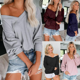 Womens Loose V Neck Fall Sweaters