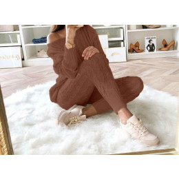 Autumn Winter Casual Knitted Tracksuit Set Women Solid 2 Piece Set
