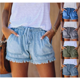 Elastic waist drawstring casual high waist denim shorts women