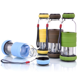 420ML Glass Water Bottle with Tea Filter Infuser