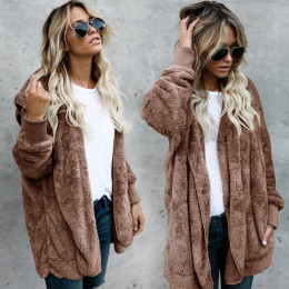 Faux Fur Teddy Bear Coat Jacket Women Fashion Open Point Hooded Coat