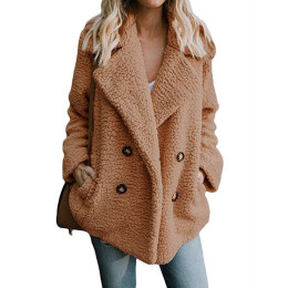 Women Faux fur winter thick teddy plush overcoat outerwear