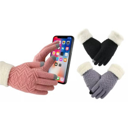 Women's winter warm touch screen knitted gloves