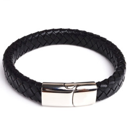 Titanium steel Leather Braid Bracelet