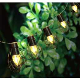 Solar Vintage Iron Cage Light String