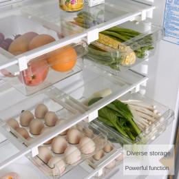 Plastic transparent refrigerator storage box sliding frame