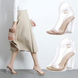 Women Sandals Transparent PVC High Heels Shoes