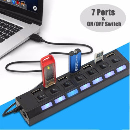 Universal 7 Ports High Speed ON/OFF Switch LED Hub Splitter for PC Computer Notebook Laptop