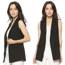 Lady pocket coat sleeveless vests jacket