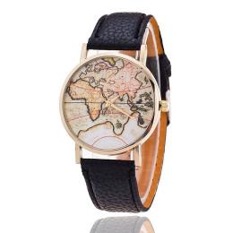 Personality Vintage Retro World Map Pattern Watch Leather Strap Men Women Boy Girl Wrist Watch