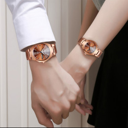 Wlisth Men Women Fashion Watch Alloy Double Calendar Waterproof Lovers Quartz Watches