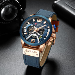 Curren Chronograph Men's Watch Genuine Leather Strap