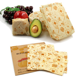 3pcs/Pack 100% biodegradable Beeswax Wraps