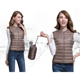Women Winter Portability Warm White Duck Down vest