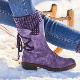 Women thick heel straps retro Martin boots
