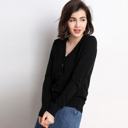 Women's V-Neck Long Sleeve Soft Classic Knit Cardigan